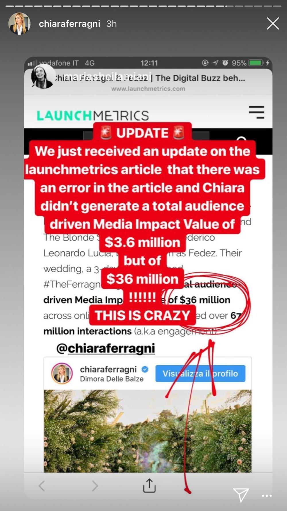Chiara's Instagram Story