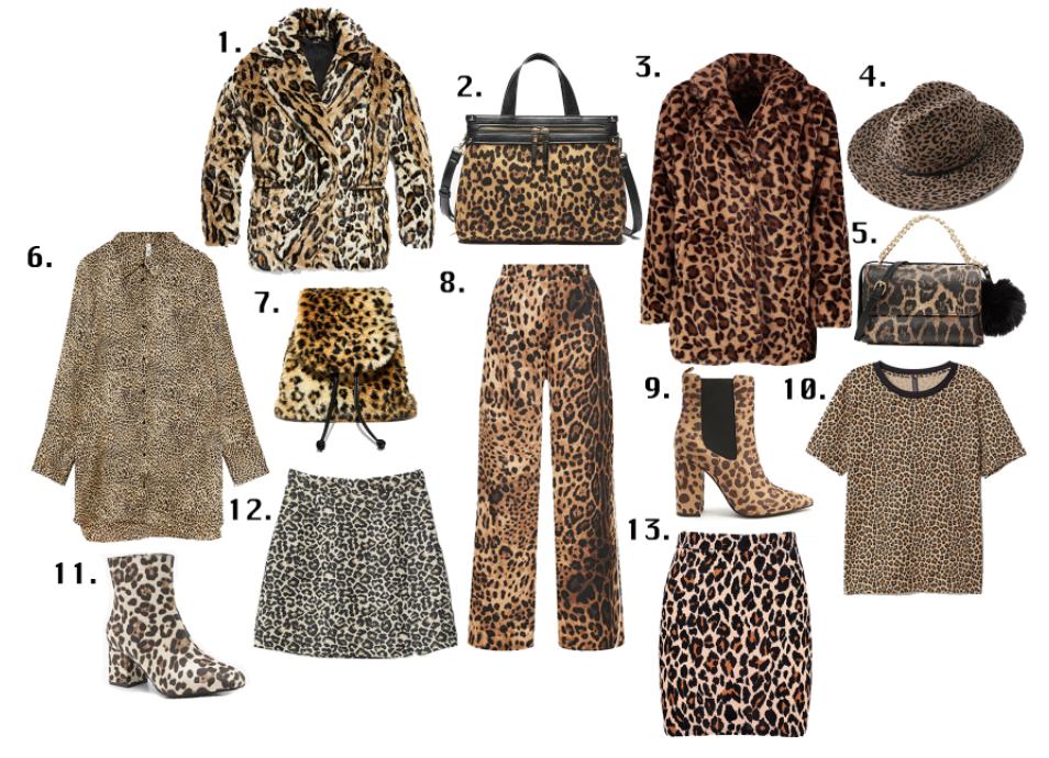 1. Free People 'Kate' Coat, $298 2. Sole Society 'Zypa' Vegan Satchel, $64.95 3. Boohoo Faux Fur Coat, $40 4. Lulu's 'Branwen' Hat, $47 5. Aldo 'Broadbent' Bag, $48 6. Zara Button Down Shirt, $45.90 7. Current Mood Rebel Kitty Backpack, Dollskill, $38 8. Pretty Little Thing Wide-Leg Pants, $38 9. Forever 21 Ankle Boots, $34.90 10. H&M Printed Tee, $12.99 11. Boohoo Block Heel Boots, $25 12. H&M Jacquard-weave Skirt, $39.99 13. Boohoo Fitted Mini Skirt, $6