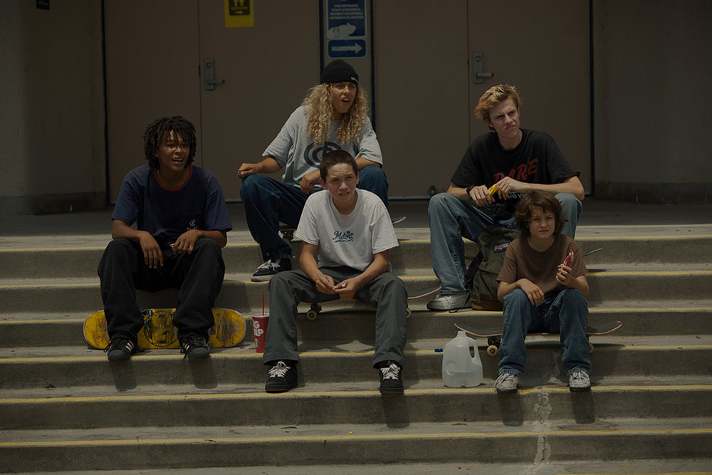 Na-kel Smith (Ray), Olan Prenatt (Fuckshit), Gio Galicia (Ruben), Ryder McLaughlin (Fourth Grade), & Sunny Suljic (Stevie) in  mid90s