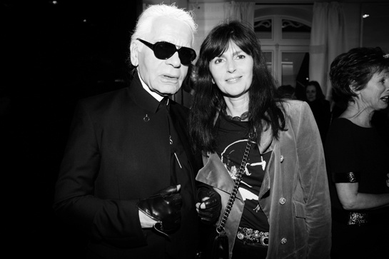 Lagerfeld and Viard. Image taken by Olivier Zahm, Purple Magazine