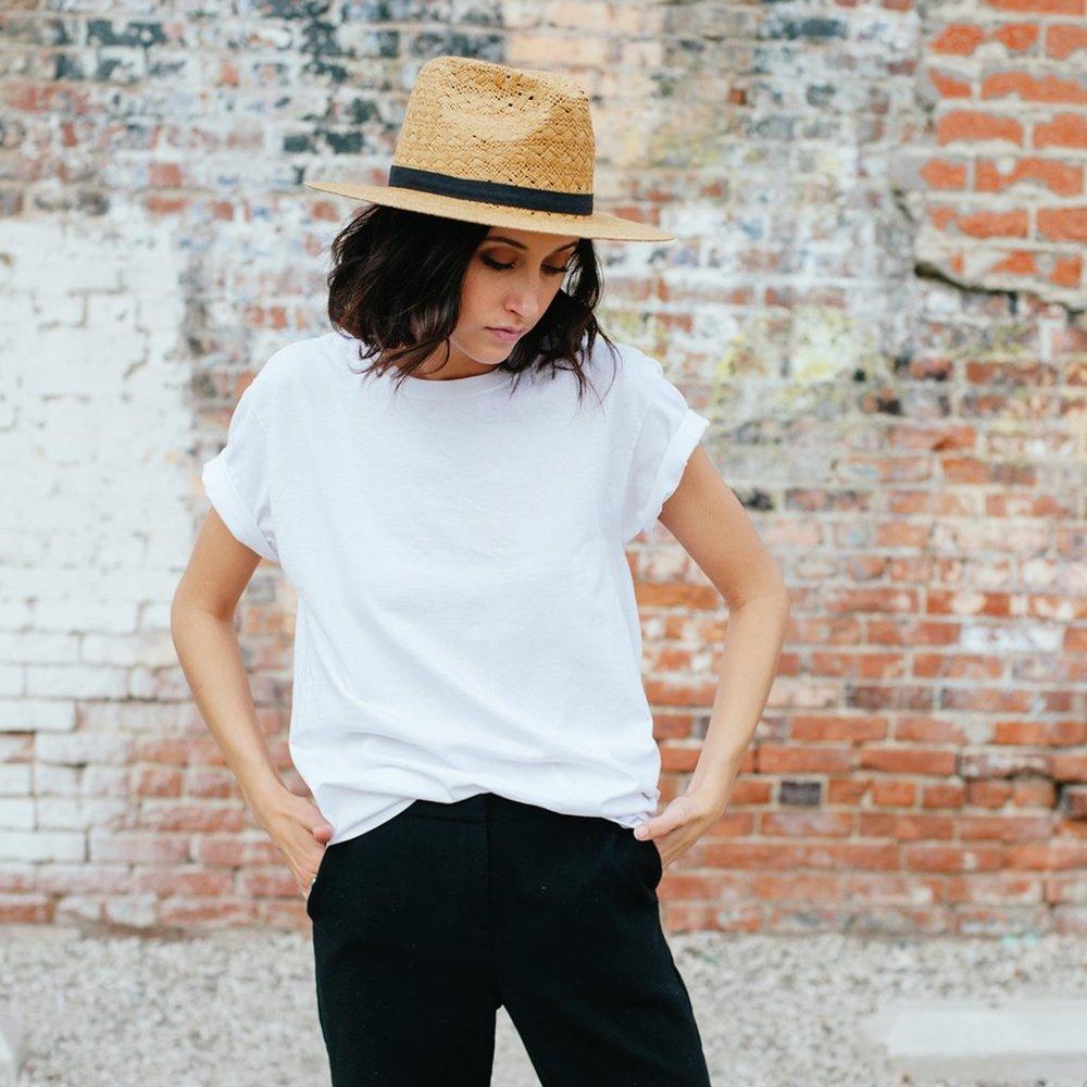 "Yellow 108 ""Stevie Raffia Straw"" hat. $104."
