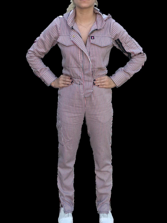"HauteWork ""Limited Edition Striped Flex Suit."" $198."