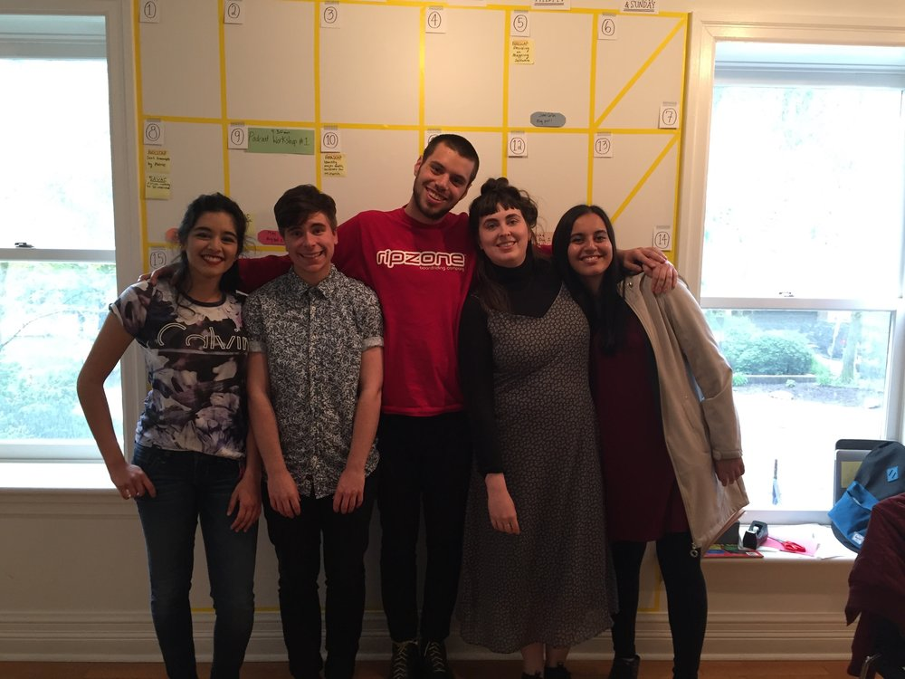 Five of the students involved in the Scholars in Residents Program, May 2017: from left to right, Alisha, Mac, Zohar, Caleigh, and Amal.