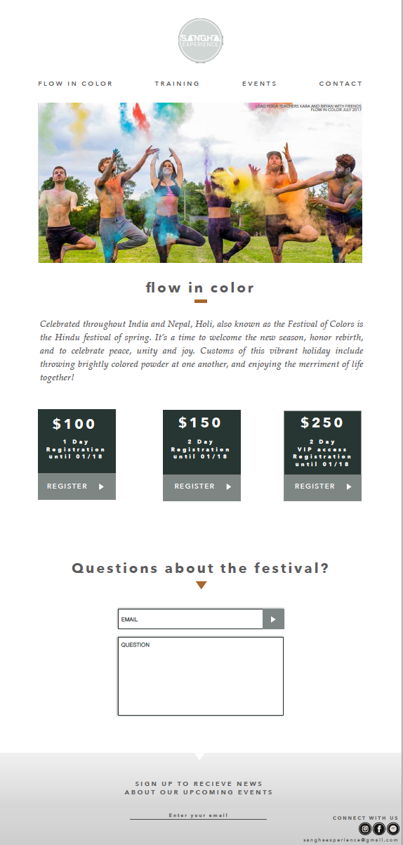 """Sangha Experience runs an annual festival in Ann Arbor called """"Flow In Color"""". This festival is all about color filled yoga classes, and encourages participants to release their inner child.  Click   here     to see the enlarged flow in color page."""