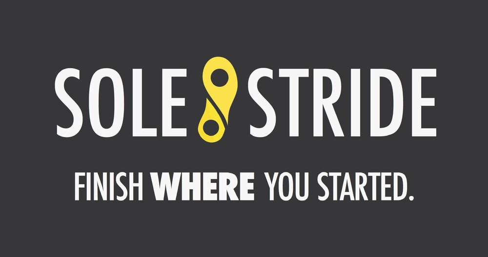 The Final SoleStride Logo. The yellow element represents two map markers that make up a foot. The tag line above was a placeholder for something more creative, however it stuck through two years without being changed!
