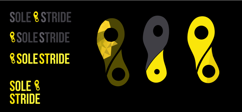 """A First iteration of the SoleStride Logo... The name SoleStride originated from the original idea of the application having a philanthropic aspect. We played with the words """"soul"""" and """"sole"""" to give the name a running twist."""