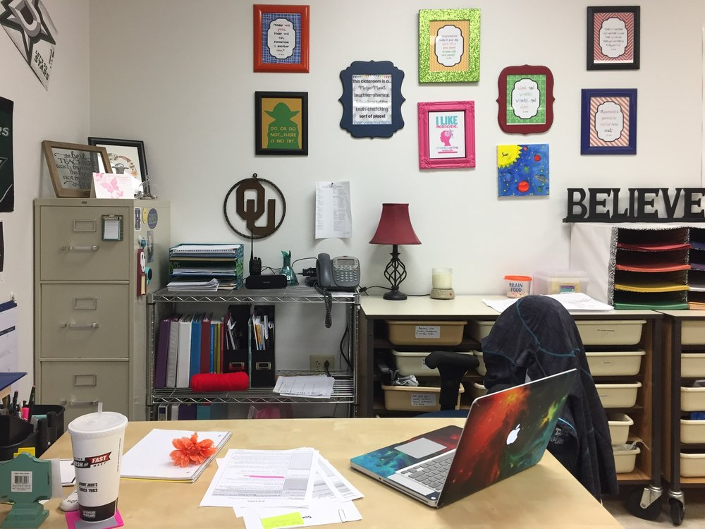 The desk where one of the teachers we interviewed completed her lesson planning.