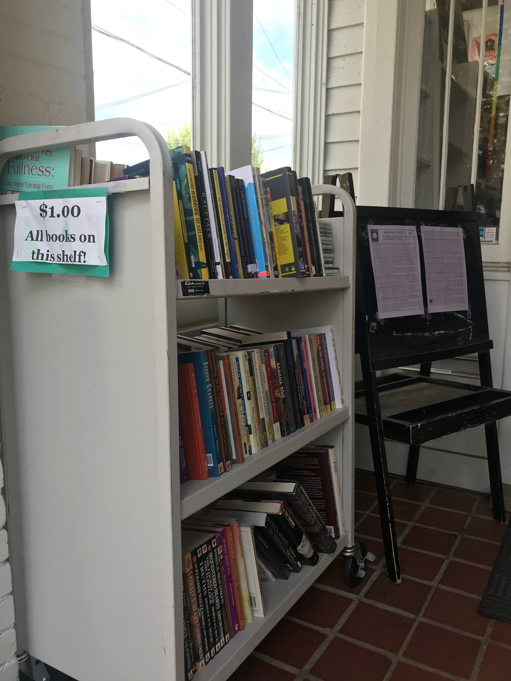 The entrance of one of the independent bookstores we visited.