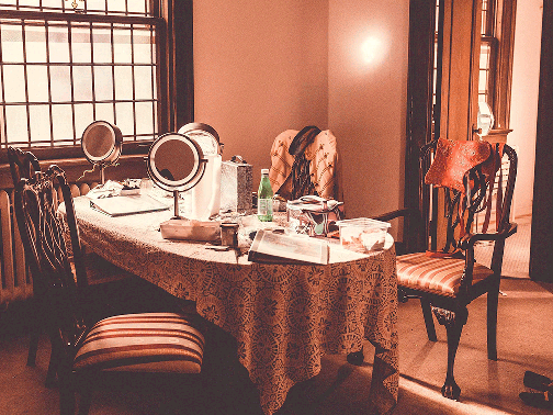 Dressing room in use