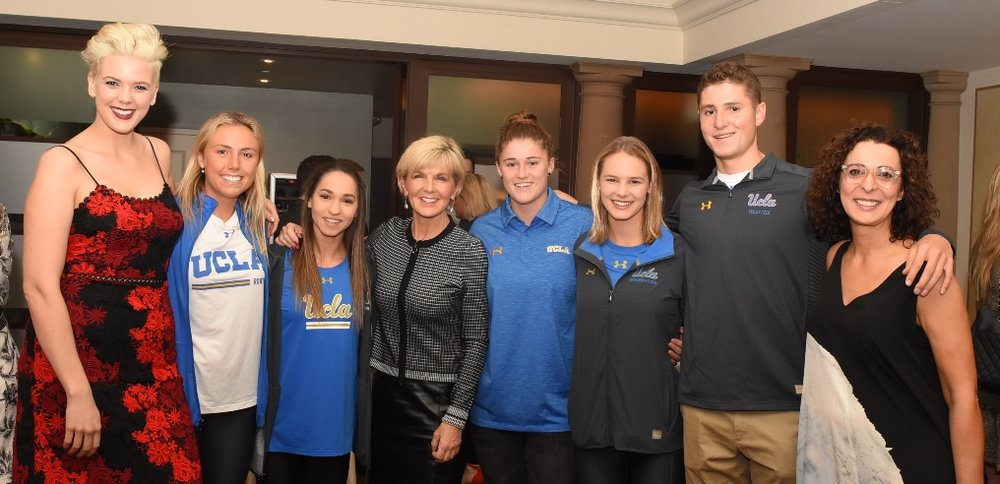 Singer-songwriter Betty Who, The Hon Julie Bishop MP and Advance Global CEO Serafina Maiorano with Australian student-athletes studying at UCLA