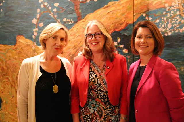 Michelle Garnaut ,  H.E. Ms Jan Adams AO, PSM and Stefanie Myers