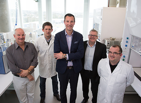 Christophe Hoppe with the Flinders University research team in their lab in Adelaide. Prof. David Lewis on far Left, Dr Jon Campbell next to him, and Dr Andrew Block on far right. Credit: Flinders University.