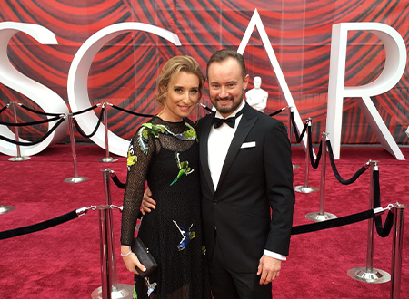Leah Katz and Andy Wright on the Oscar in 2017.