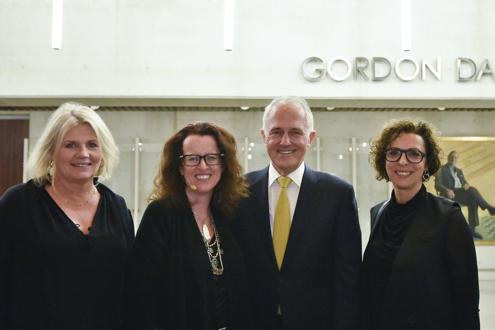 Yasmin Allen, Advance Chair; Professor Genevieve Bell, Australian Prime Minister, the Hon Malcolm Turnbull and Serafina Maiorano, Advance Global CEO