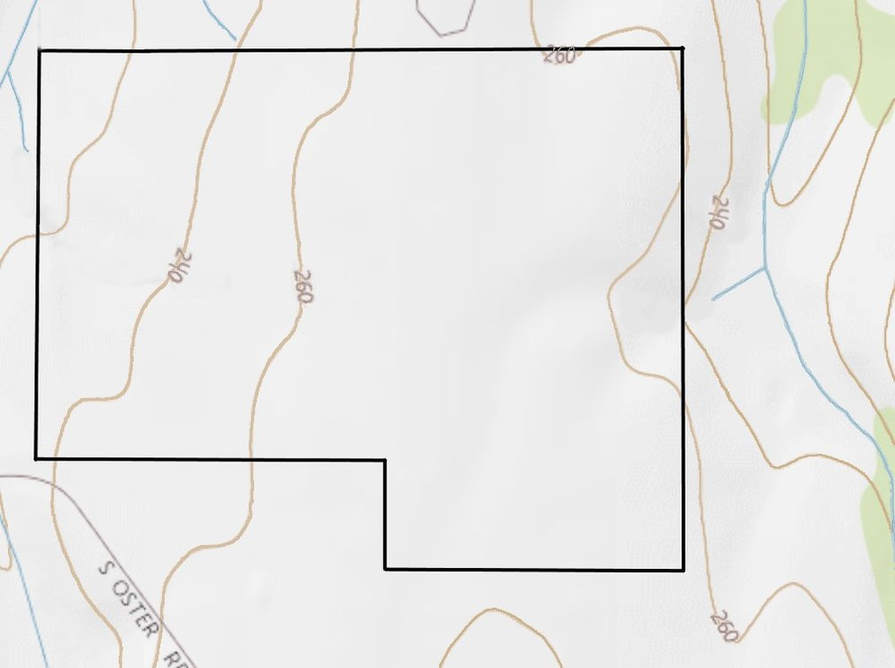 An elevation of map of the Oster Vineyard, in black.  On the margins are three streams: the branches of Muddy Creek on the east and west, and an unnamed stream on the north. These three streams together ensure that Oster's is well-drained.