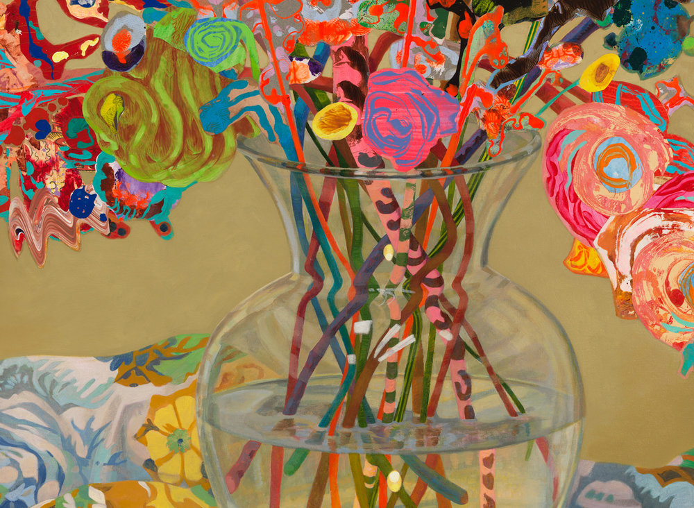 """Blushing Shoots (detail), 2015, acrylic, collage, oil on canvas, 48"""" x 46"""""""