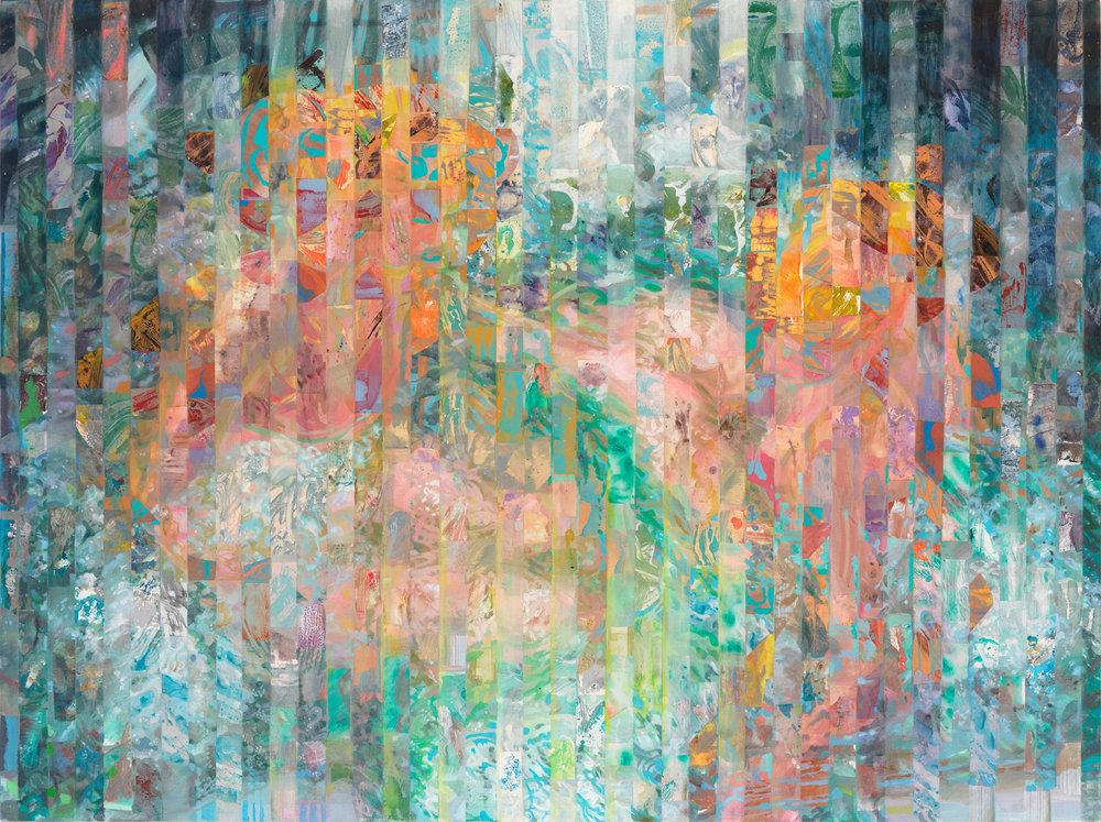 "Far Away Spring 2, 2013, acrylic, collage, oil on canvas, 44"" x 59"""