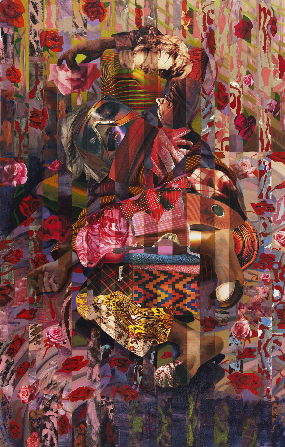 "Material Matters, 2015, acrylic, collage, oil on canvas, 55"" x 35"""