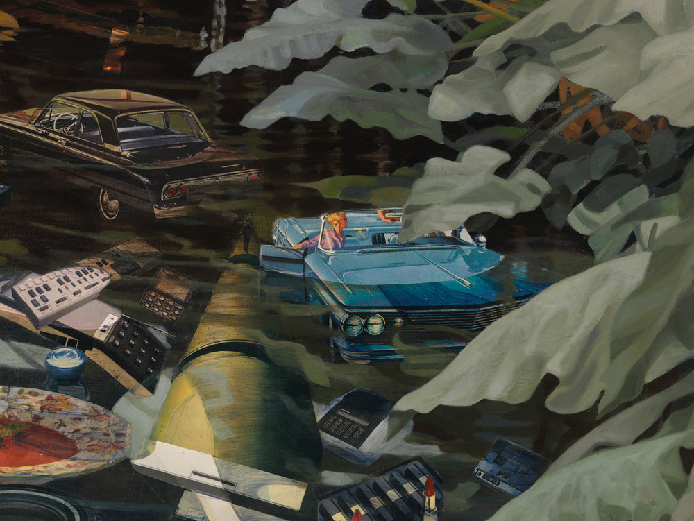 "An Ant Finds a Kingdom (detail), 2010, acrylic, collage on canvas, 48"" x 52"""