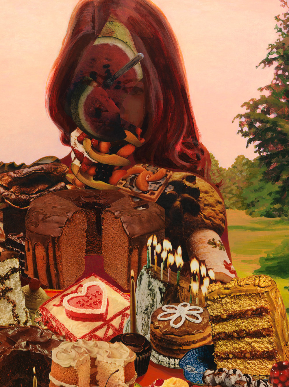 "The Cake Lady (detail), 2011, acrylic, collage on canvas, 48"" x 42"""