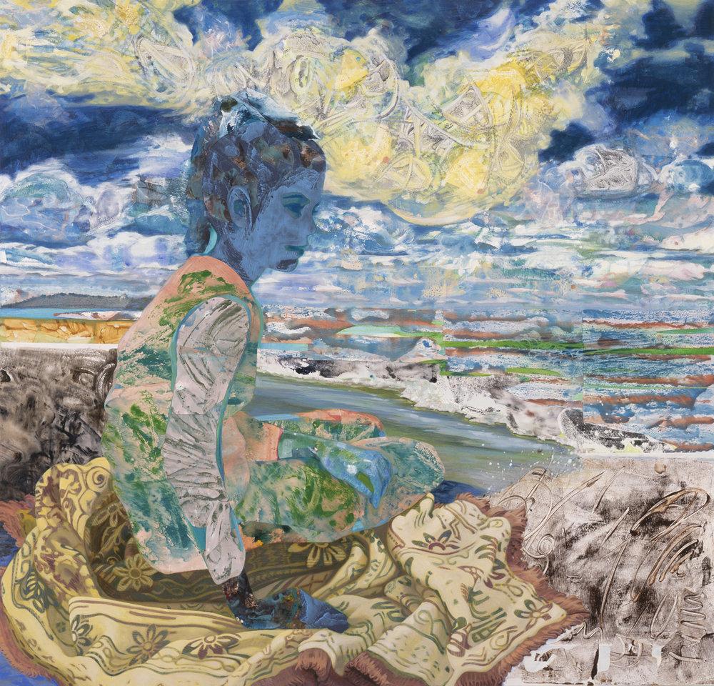 "Beautiful Tomorrow, 2003, acrylic, oil, collage on canvas, 48 x 50"""