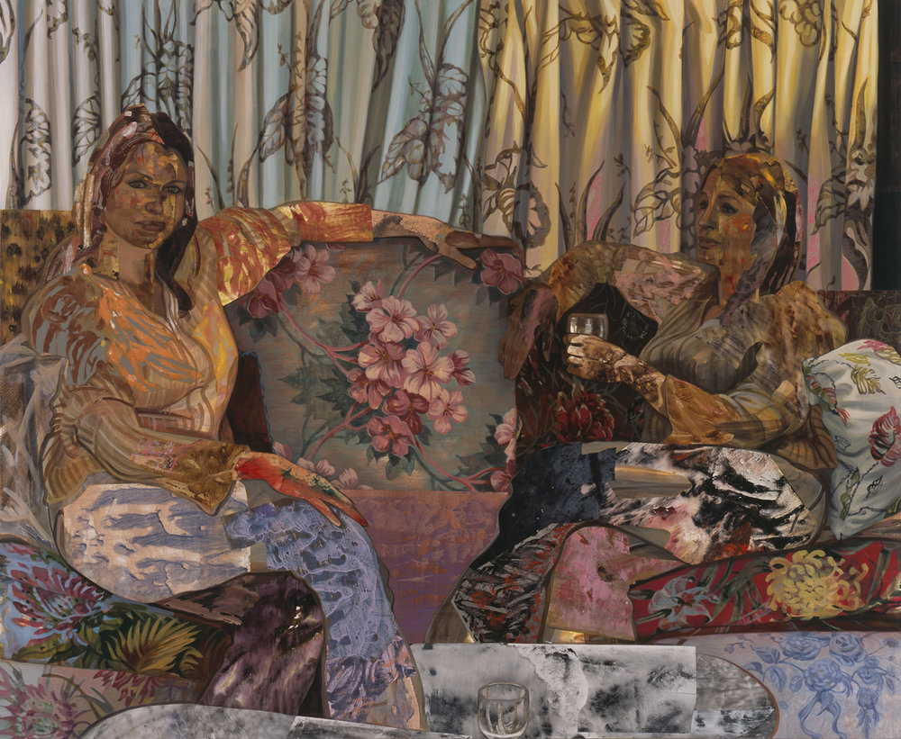 "House Proud, 2003, acrylic, oil, collage on canvas, 54"" x 66"""