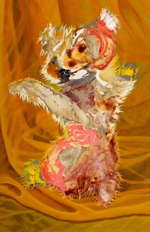 "Chowder, 2005, acrylic, collage on panel, 24"" x 15.75"""