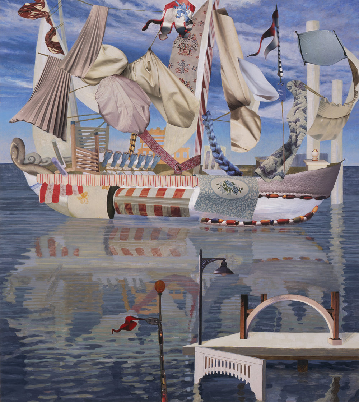 "Prima, 2007, acrylic, collage on panel, 27"" x 24"""