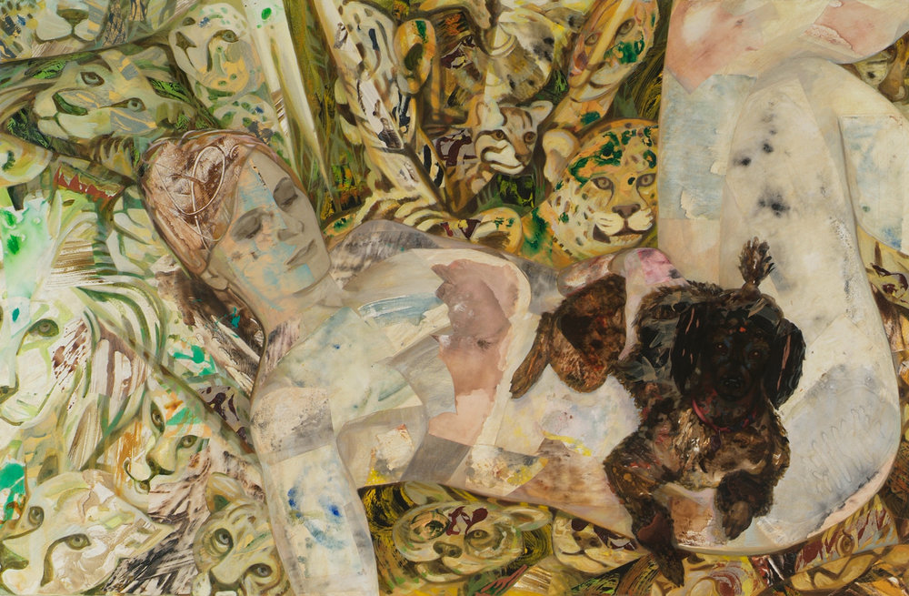 "Not Cat, 2005, acrylic, oil, collage on canvas, 34.5"" x 52"""