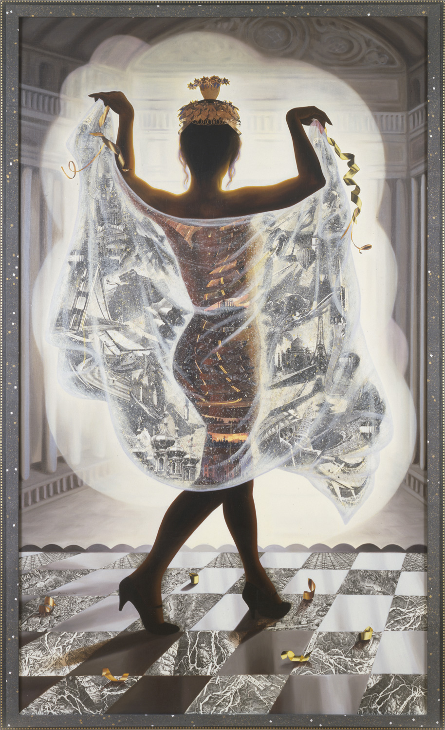 "At the Follies, 1991, oil, collage on canvas, 81"" x 49"""