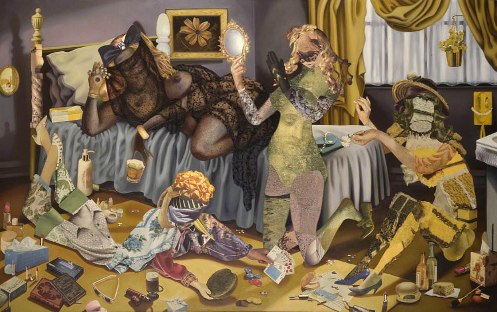"The Slumber Party, 1991, oil, collage on canvas, 55.5"" x 89"""