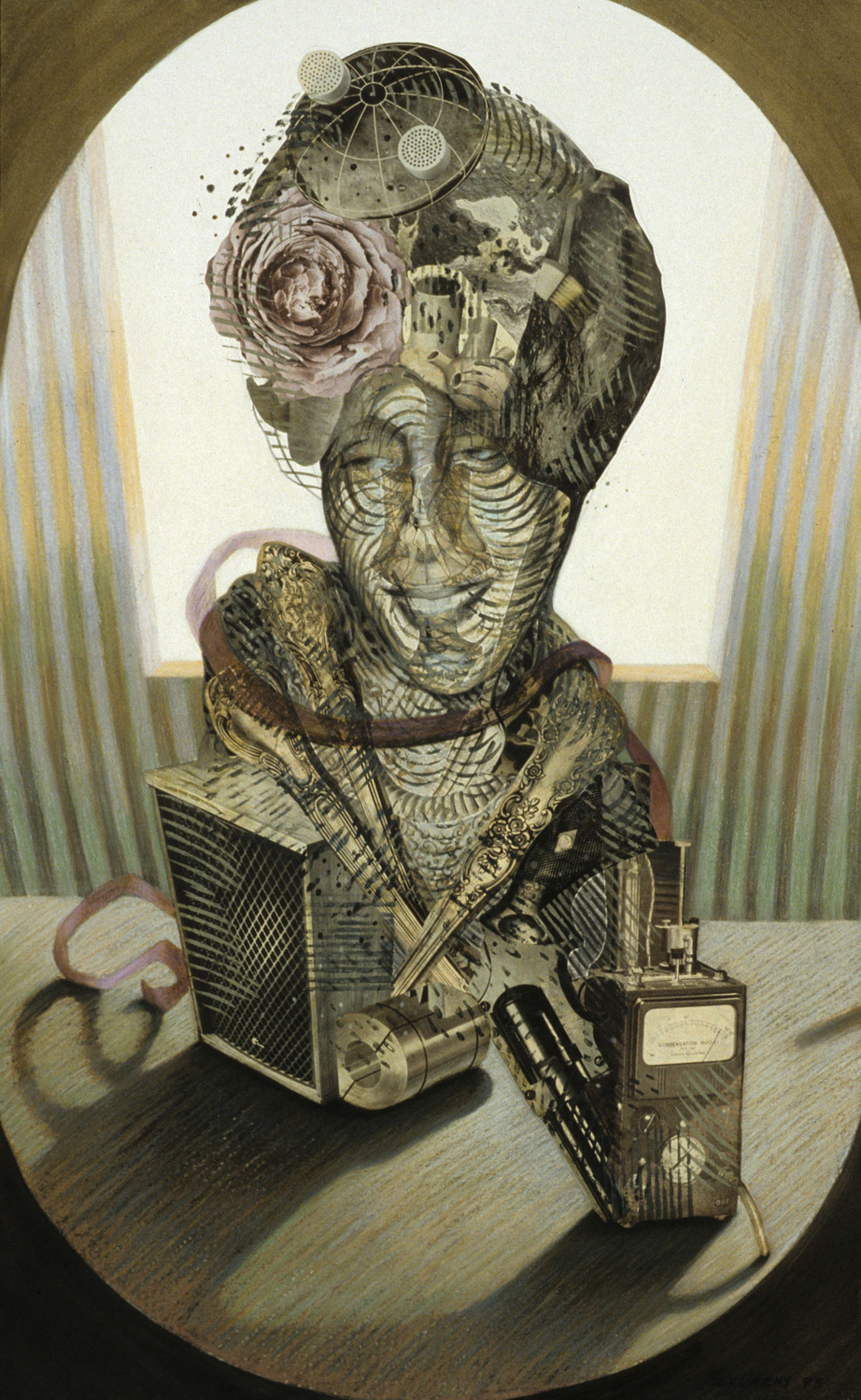 "Nebulata, 1993, mixed media, collage on paper, 32"" x 20"""