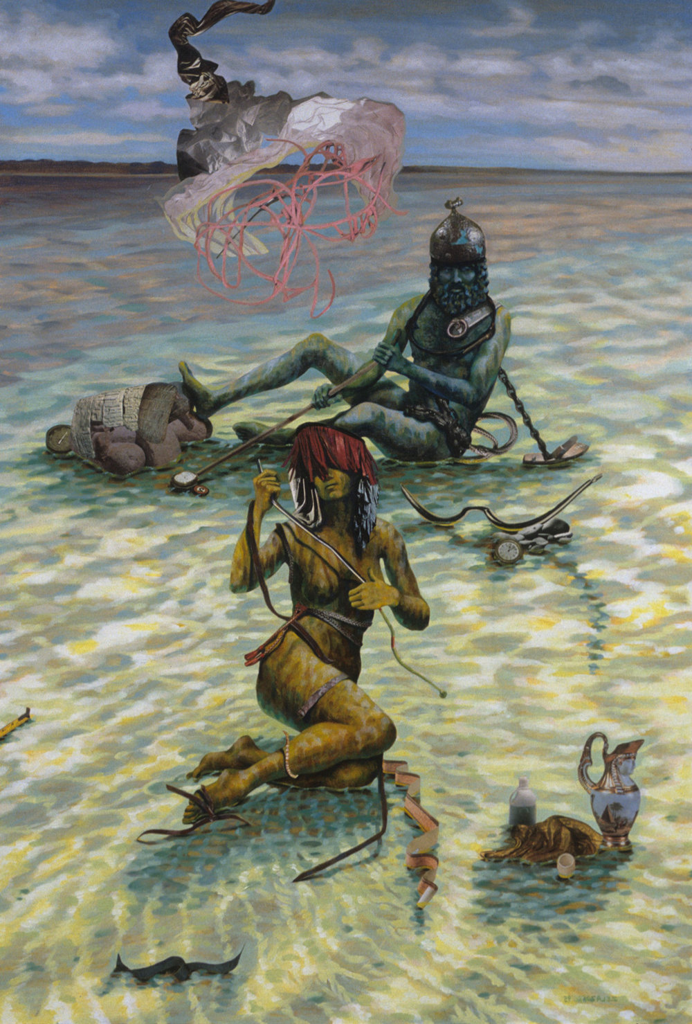 "Pending the Tide 1 (triptych), 1995, acrylic, oil, collage on canvas, 45"" x 30"""