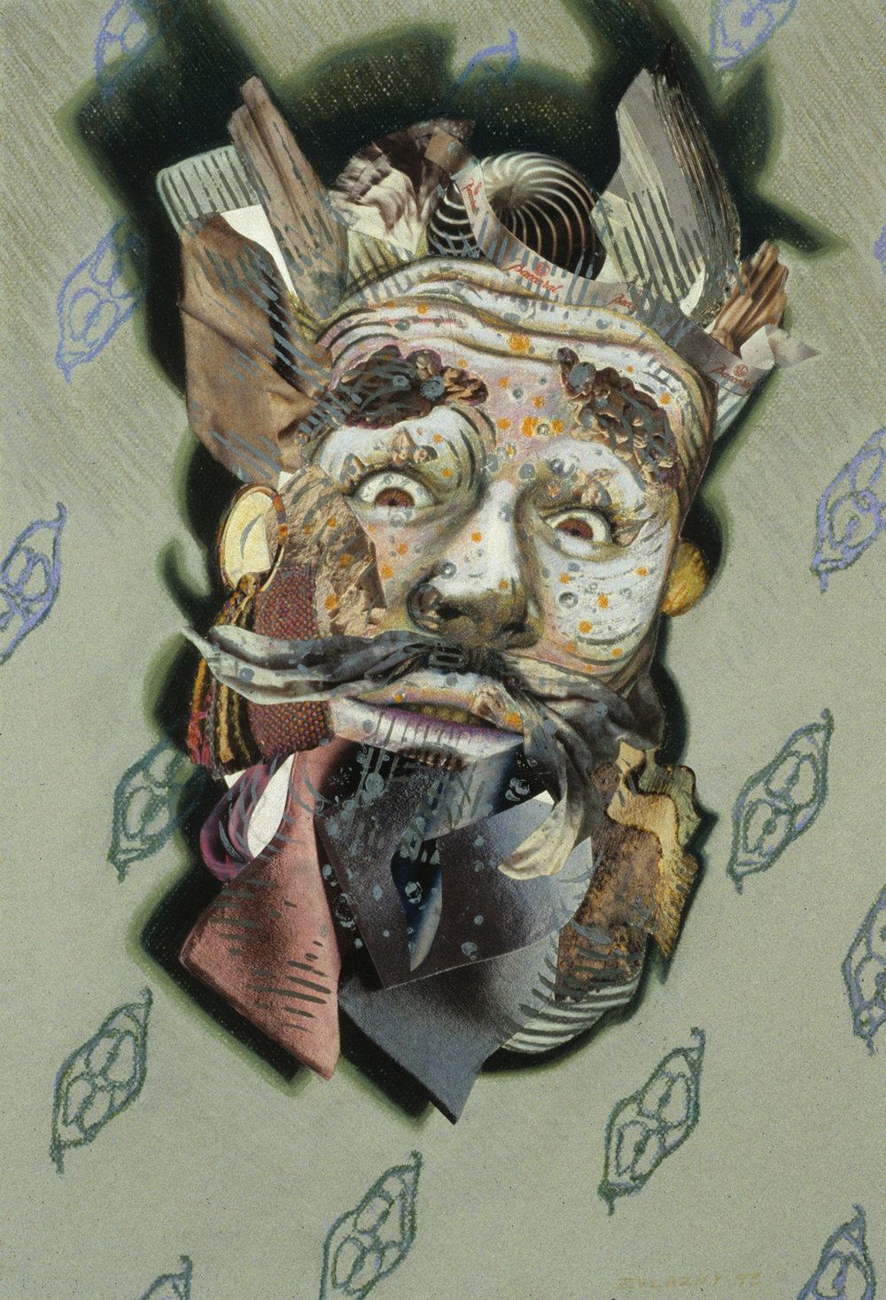 "Puck's End, 1993, mixed media, collage on paper, 22"" x 15"""