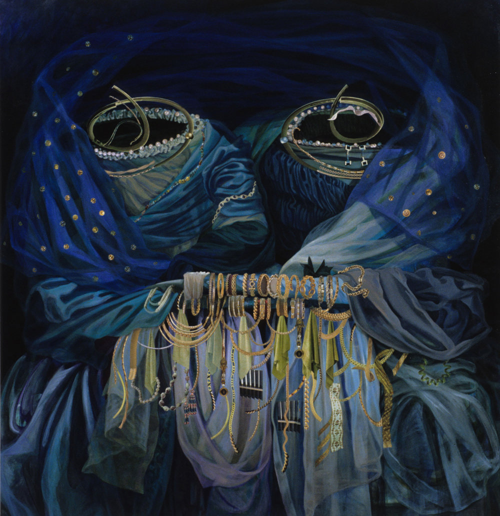 "She had Blue Eyes 2, 1999, acrylic, oil, collage on canvas, 62"" x 60"""