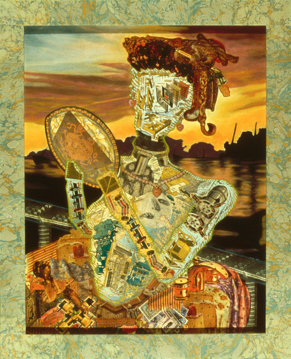 "Mrs. Columbus, 1987, oil, collage on panel, 41"" x 33"""