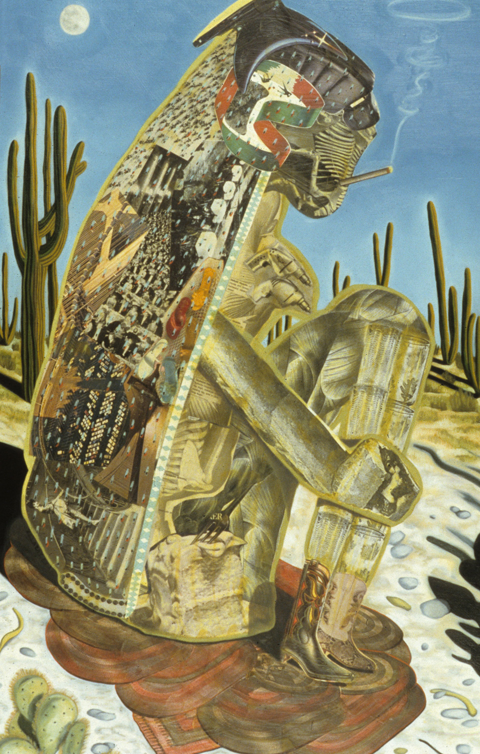 "Desert Smoker, 1986, oil, collage on panel, 51"" x 32.5"""