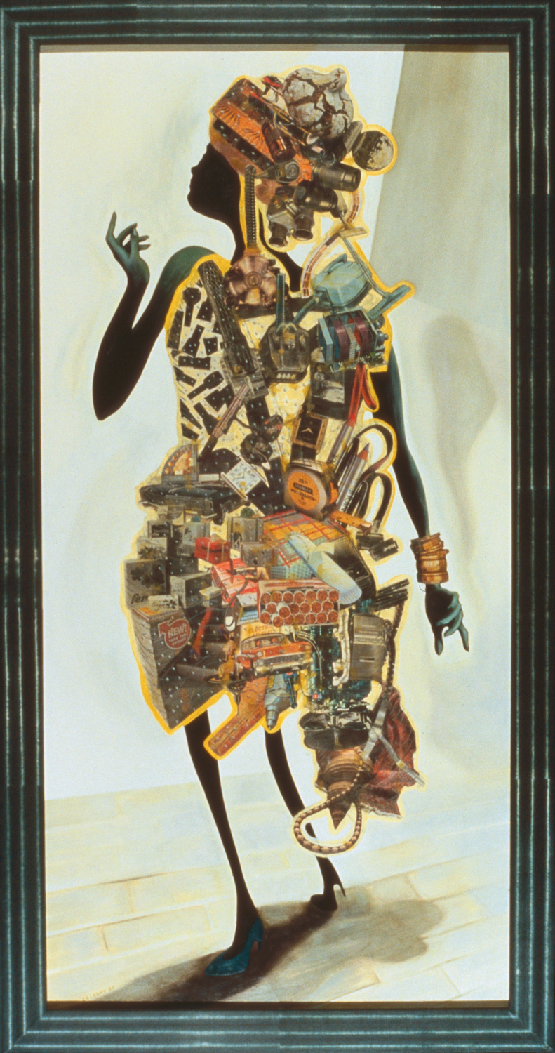"Untitled, 1987, oil, collage on panel, "" x """