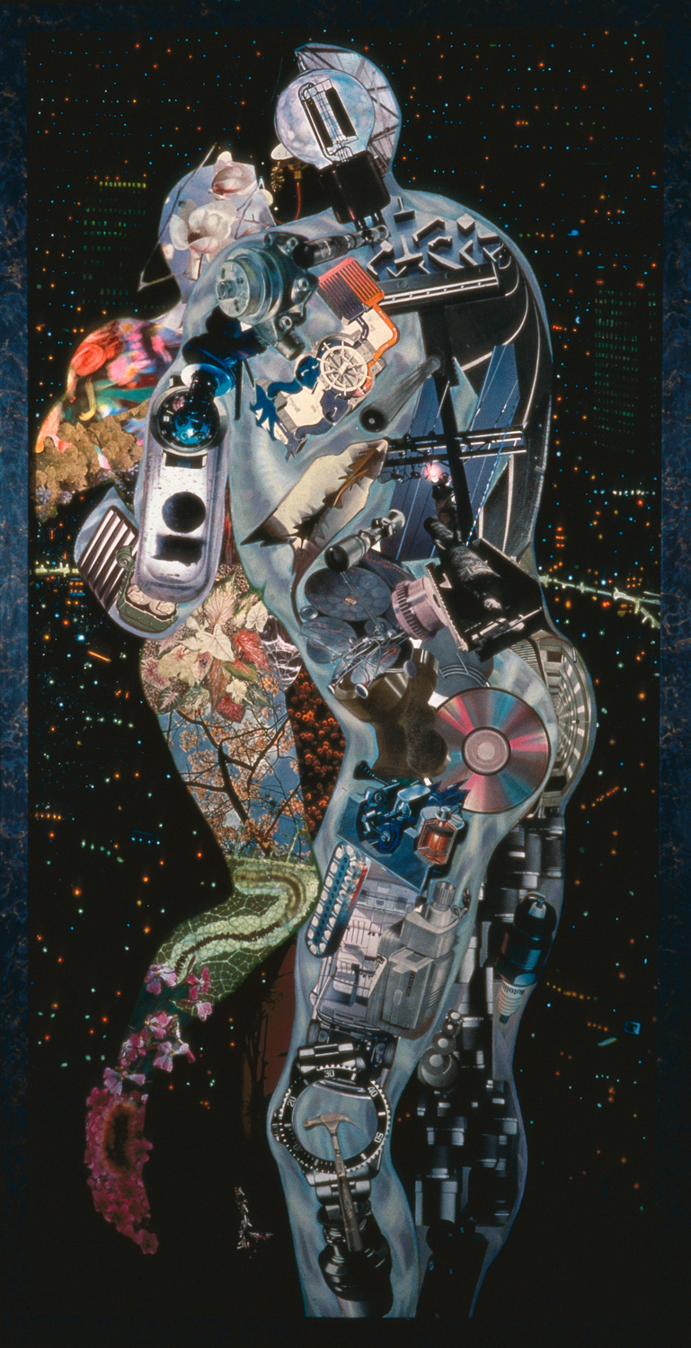 "Lover's Lookout, 1988, oil, collage on canvas, 70"" x 35"""