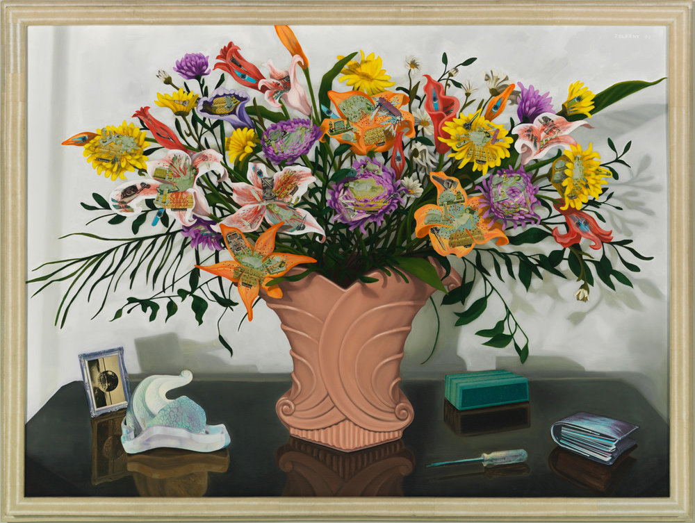 "The Big Bouquet, 1990, oil, collage on canvas, 36.5"" x 48"""