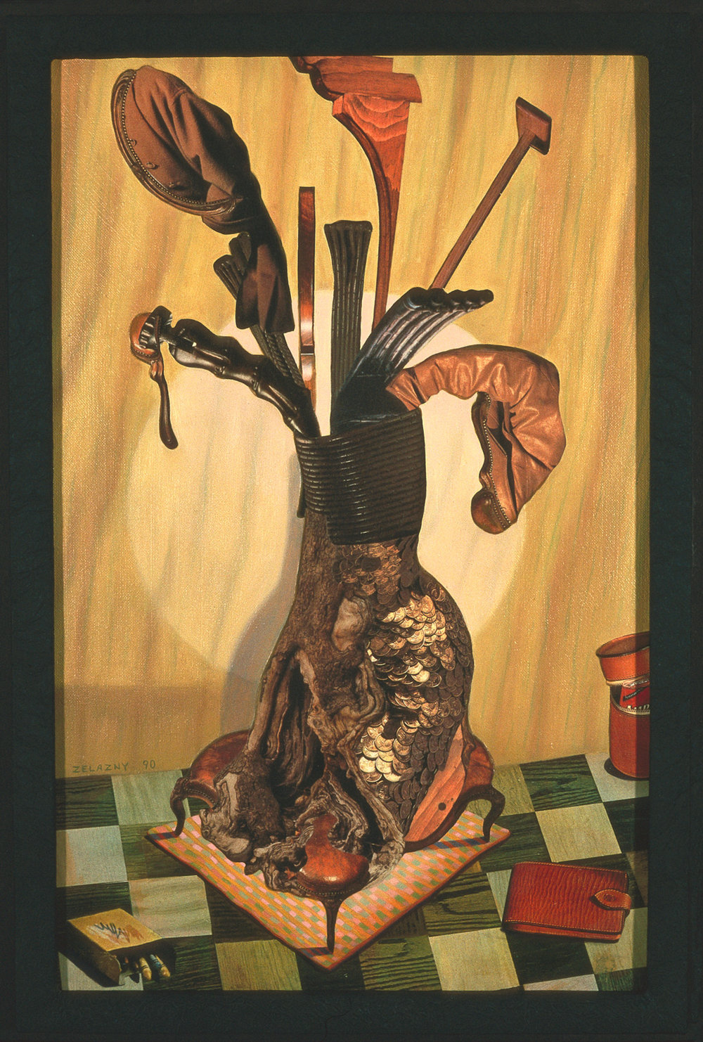 "The Masculine Bouquet, 1990, oil, collage on canvas, 26"" x 18"""