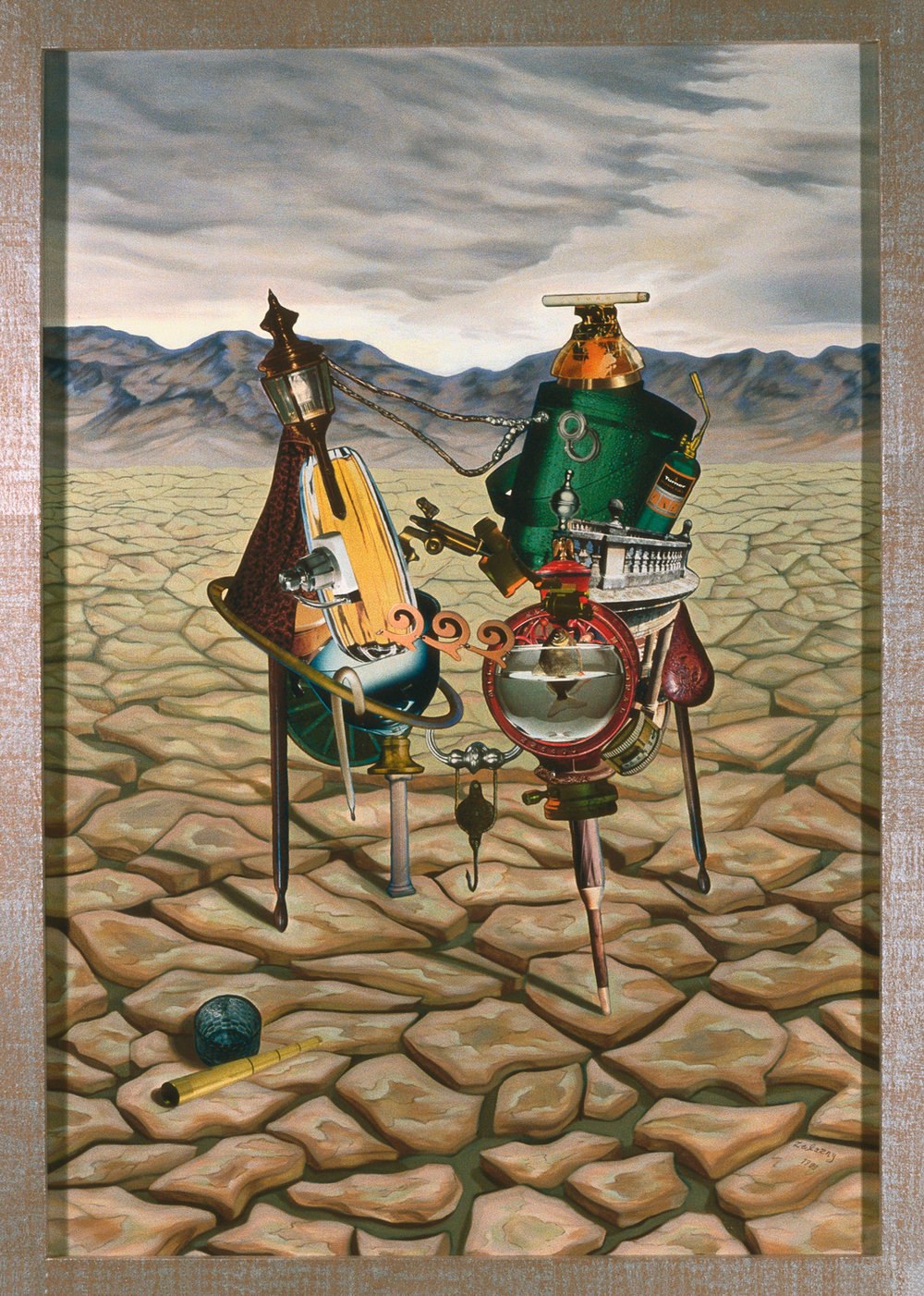 "Tarantula, 1989, oil, collage on canvas, 50"" x 36"""
