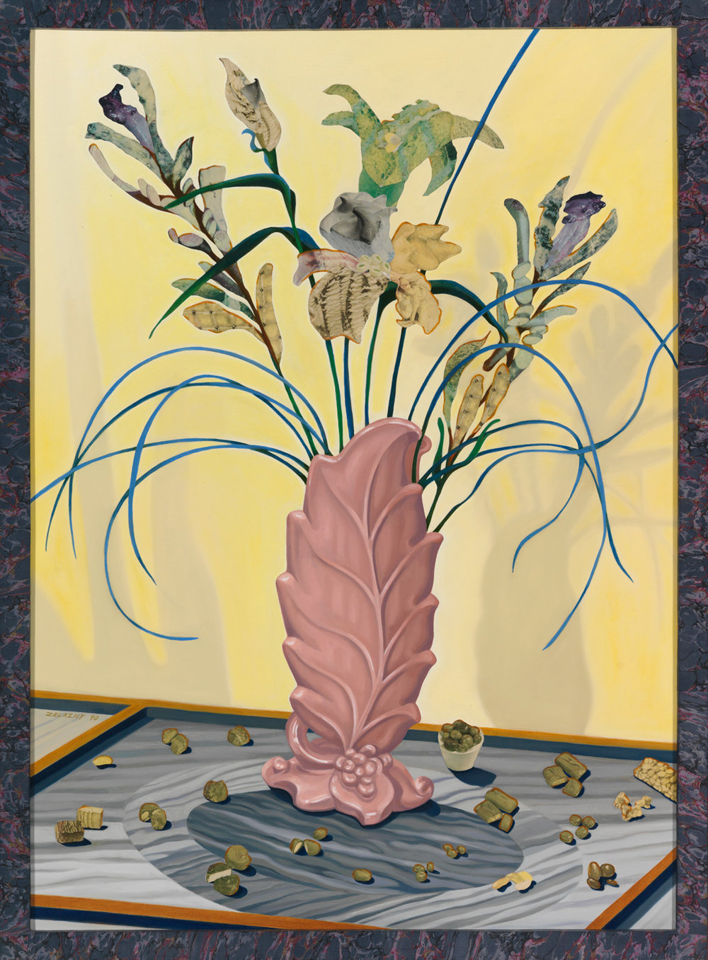 "Sweet Arrangement, 1990, oil, collage on canvas, 42.5"" x 31.5"""