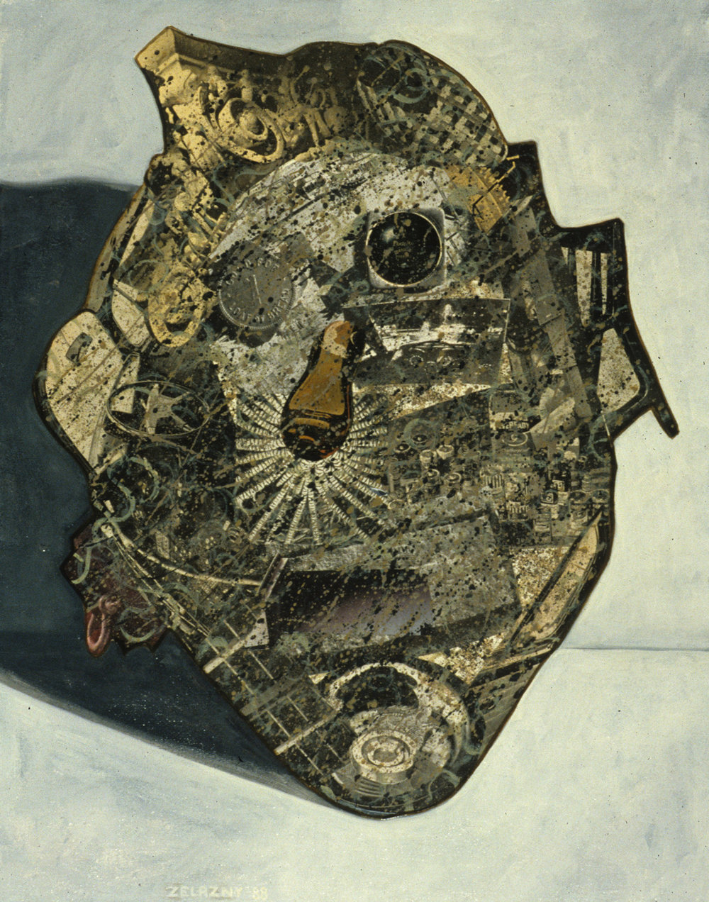 "Mask #2, 1988, oil, collage on canvas, 27"" x 21"""