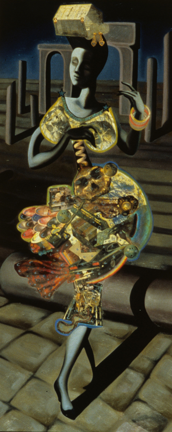 "Miss Plaka, 1987, oil, collage on panel, 70"" x 30.5"""