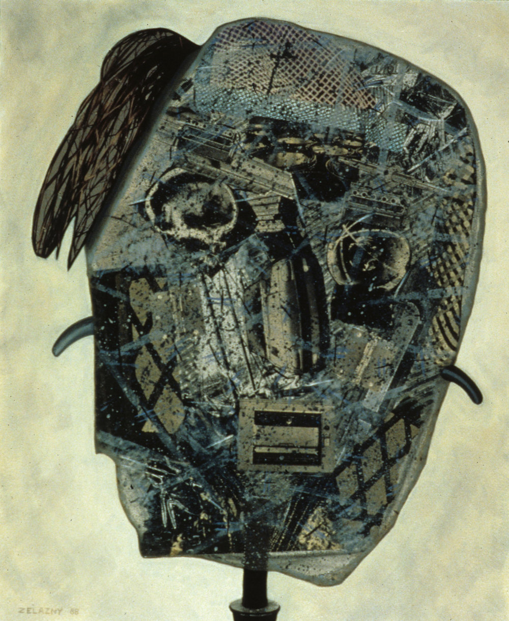 "Mask #3, 1988, oil, collage on canvas, 27"" x 22"""