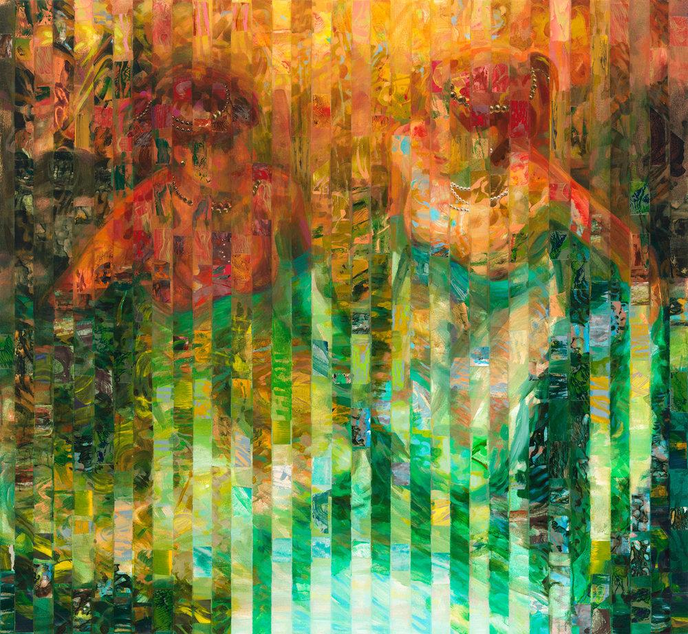 "Far Away Spring 1, 2013, acrylic, collage, oil on canvas, 48"" x 52"""