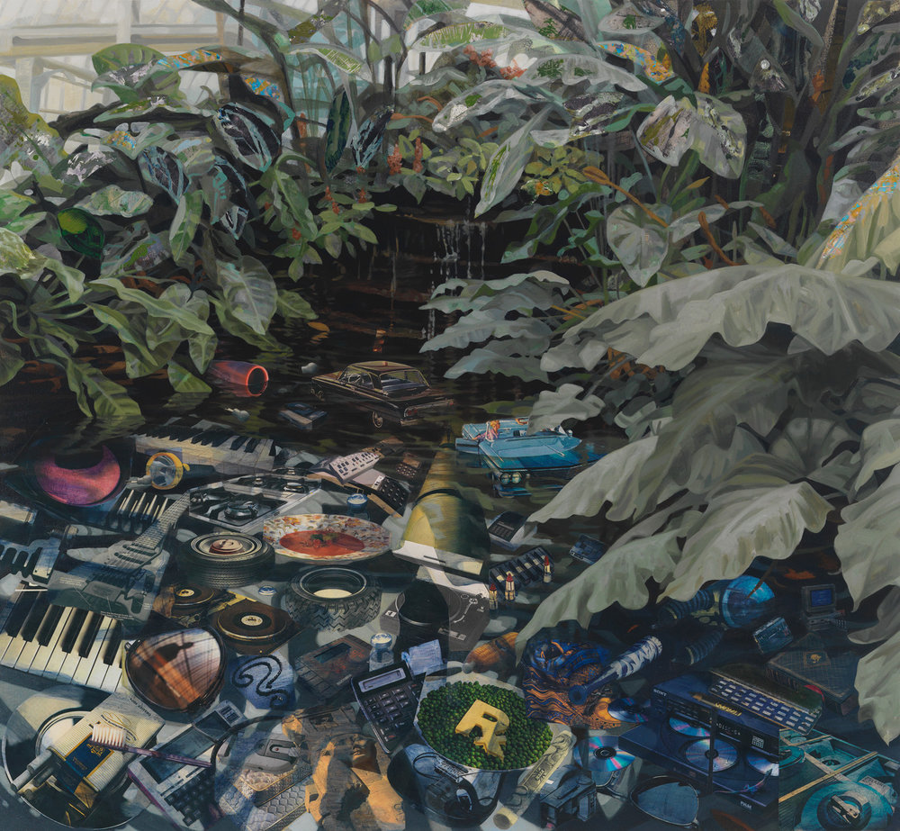 "An Ant Finds a Kingdom, 2010, acrylic, collage on canvas, 48"" x 52"""