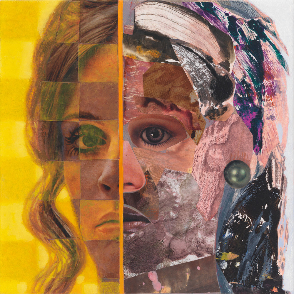 "Me Me #3, 2010, acrylic, collage, oil on canvas, 10"" x 10"""