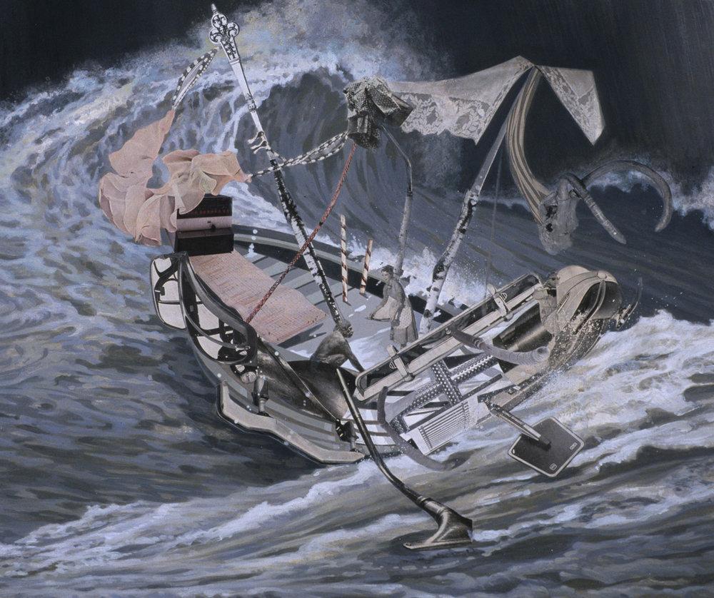 "Boat III (Sea Legs), 2002, acrylic, collage on paper, 25.25"" x 29.5"""